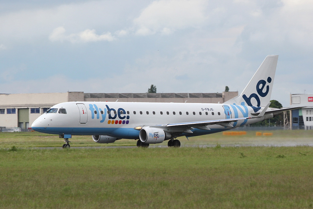Flybe Embraer ERJ-175 G-FBJG departs for Jersey.<br /> By Clive Featherstone.
