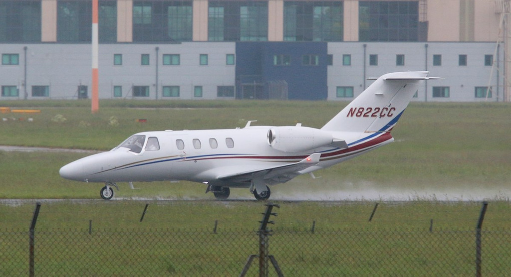 Cessna 525 CitationJet M2, N822CC departed at 11:18.<br /> By Correne Calow.