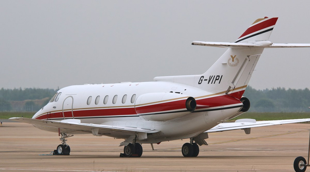 A smart looking first time visitor. This Executive Jet Charter, BAe 125-800 G-VIPI arrived late yesterday evening.<br /> By Correne Calow.
