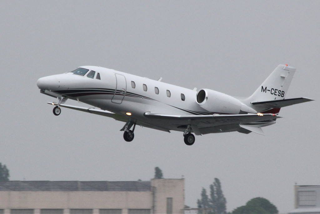 Cessna 560XL Citation XLS, M-CESB departs a wet DSA just after 11am.<br /> By Clive Featherstone.