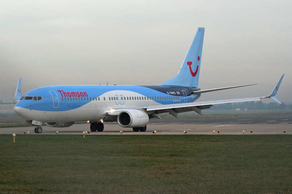 Thomson Airways 737-800 G-TAWS is now fitted with 'Split Scimitar Winglets' Thomson Airways was the first airline in Europe to employ this latest design which is reported to give an additional 2% fuel saving over existing winglets.<br /> By Graham Vlacho.