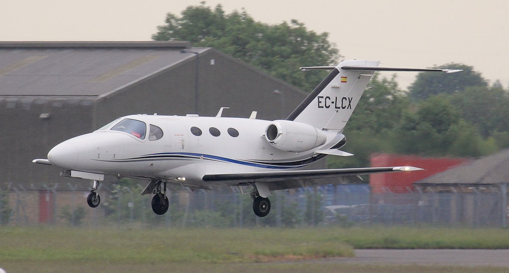 Arriving from Nice is this Sur Aviation, Cessna 510 Mustang EC-LCX.<br /> By Jim Calow.