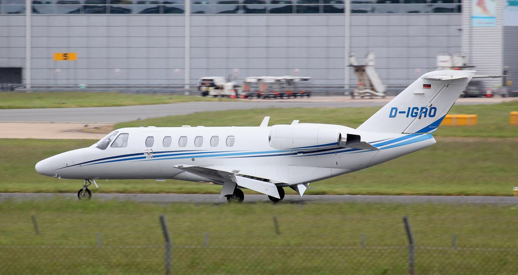 Cessna 525A Citationjet CJ2 D-IGRO arrived from Munich for attention at CSC.<br /> By Jim Calow.