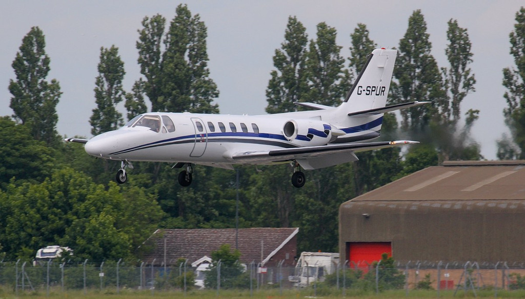 About to touch down on rnwy 20 is London Executive Aviation Cessna 550 Citation ll G-SPUR after a flight from Dublin.<br /> By Jim Calow.