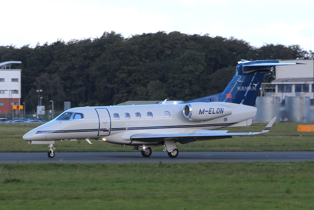 A first time visitor this morning was Burnbrae Aviation, EMB-505 Phenom 300, M-ELON.<br /> By Clive Featherstone.
