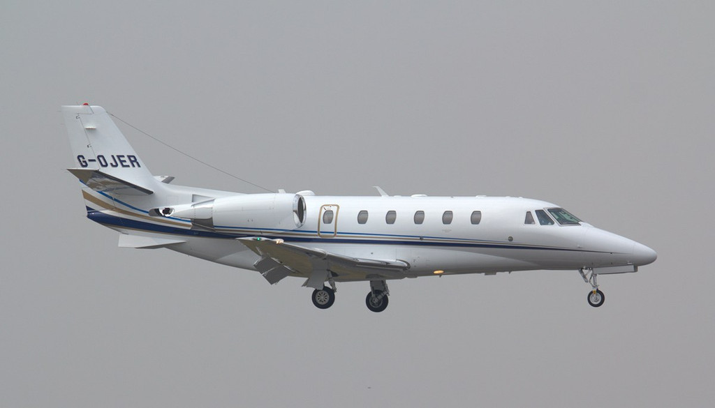 Aviation Beauport's latest addition........ Cessna 560XL Citation XLS+ G-OJER arrived early afternoon for maintenance.<br /> By Jim Calow.