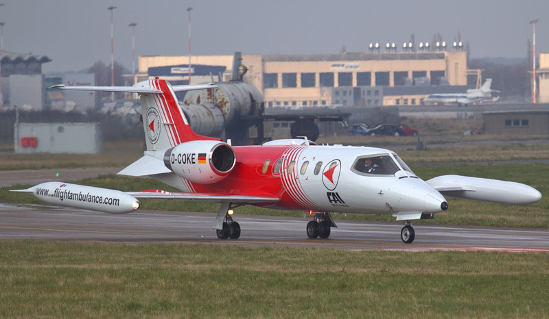 FAI Learjet 35A D-COKE departed around 13:30.<br /> By Jim Calow.
