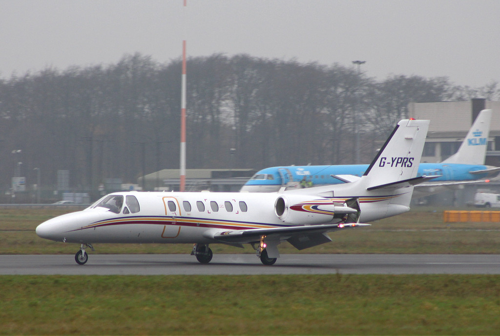 Executive Aviation Services Cessna 550B Citation Bravo, G-YPRS, made a short visit.<br /> By Clive Featherstone.