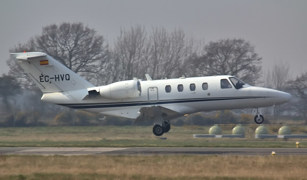 Cessna 525 CitationJet CJ1, EC-HVQ.<br /> By Jim Calow.