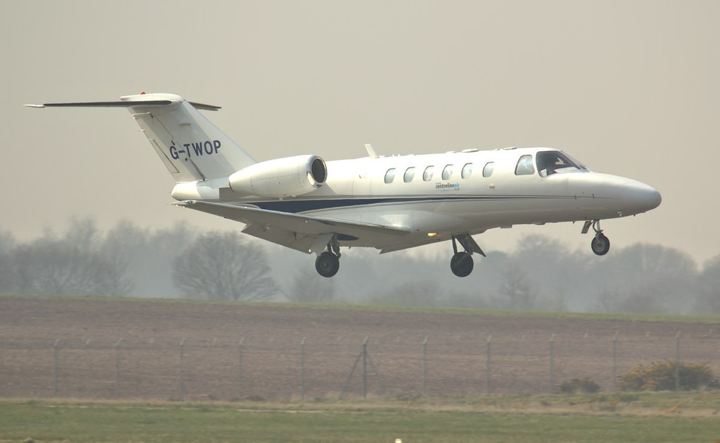 Centreline Air Cessna 525A CitationJet CJ2,+ G-TWOP.<br /> By Jim Calow.