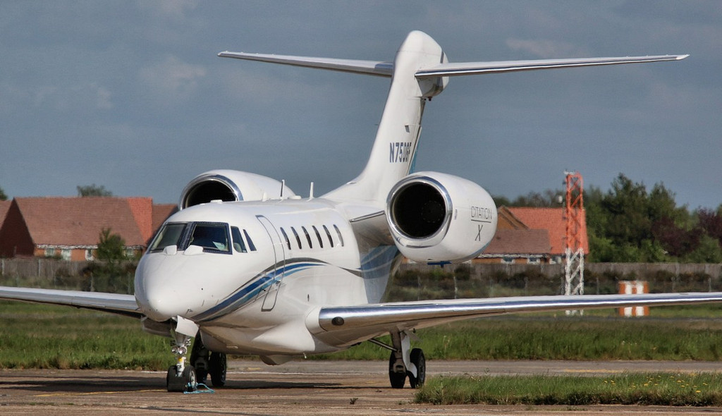 Cessna 750 Citation X N750GF was taxied to the engine test bay for engine runs.<br /> By Correne Calow.