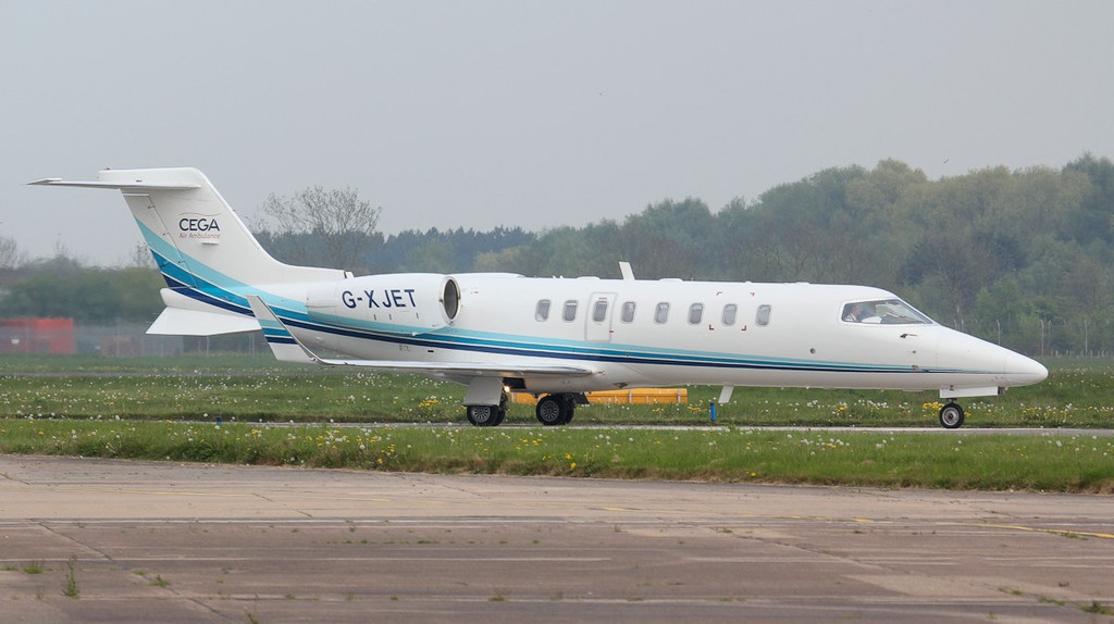 Cega Aviation Learjet 45XR, G-XJET taxis onto 'Foxtrot'.<br /> By Jim Calow.