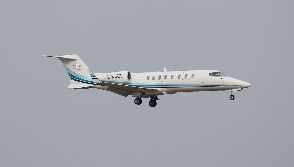 Cega Aviation Learjet 45XR G-XJET arrived from Dijon shortly before 6pm on a medical flight.<br /> By Jim Calow.