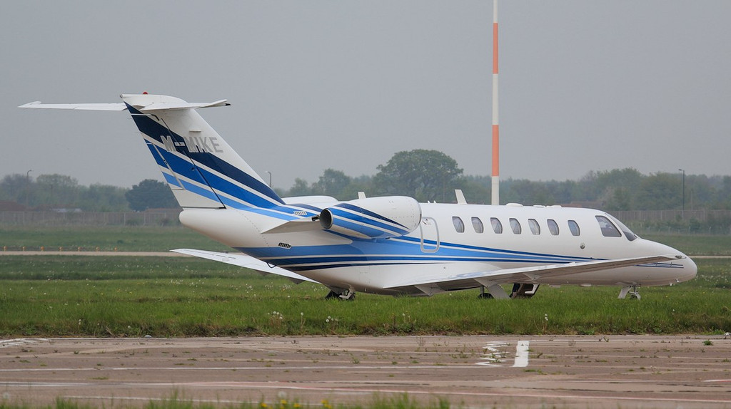 Cessna 525B Citationjet CJ3 M-MIKE was towed out of the C.S.C hangar.<br /> By Jim Calow.