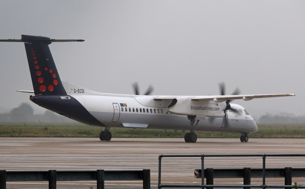 Flybe DHC-8-400, G-ECOI (in Brussels Airlines livery)<br /> By Correne Calow.