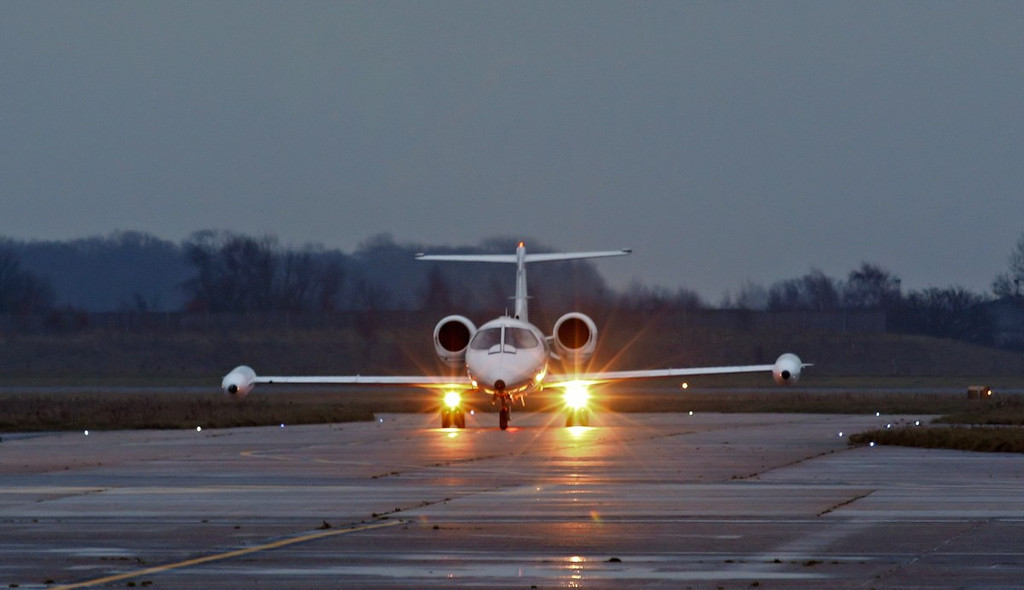 Quick Jet Air Charter, Learjet 36A, D-CFGG arriving late afternoon.<br /> By Correne Calow.