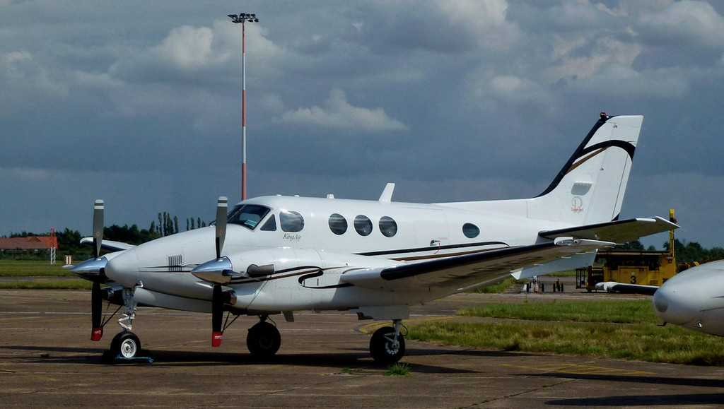 Parked on the maintenance apron, Beech C90A King Air M-OTOP, arrived on 4th Aug.<br /> By Jim Calow.
