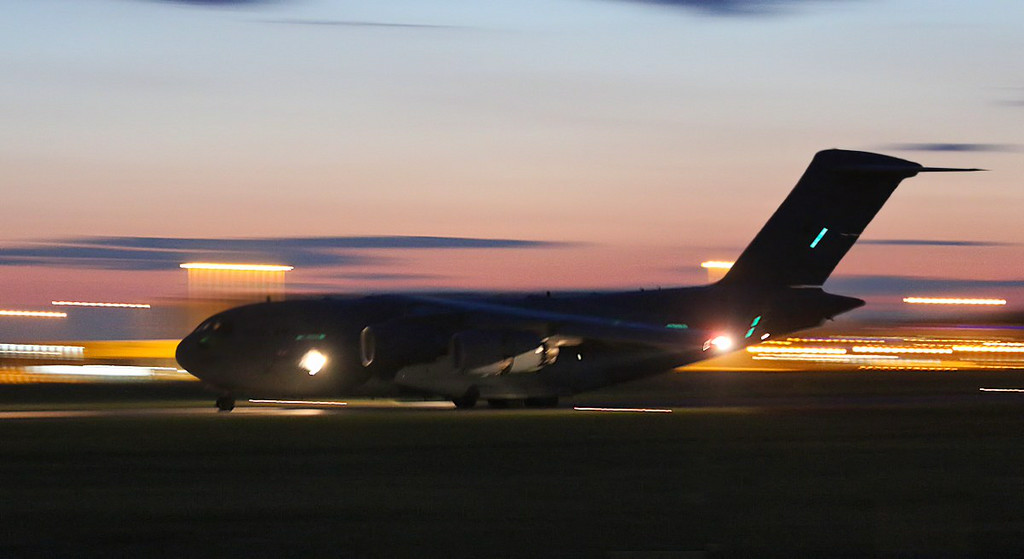 RAF C-17A ZZ172 arrived shortly before 22:00 to drop off pax.<br /> By Jim Calow.