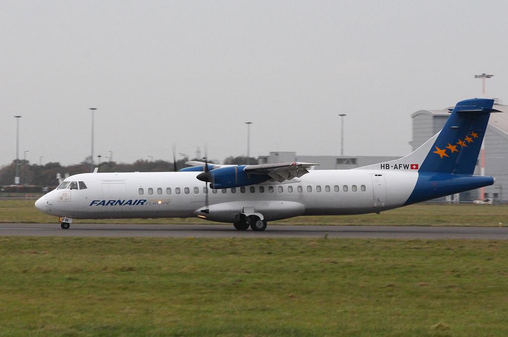 Farnair ATR-72-202(F) HB-AFW.<br /> By Clive Featherstone.