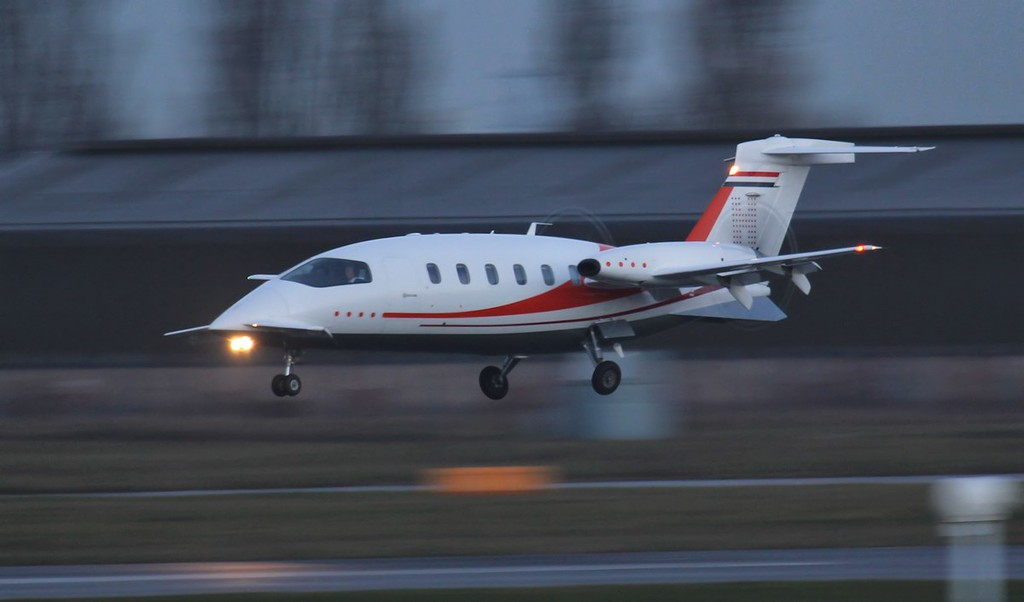 Jet Netherlands, Piaggio P.180, PH-HRK arriving at 08:00.<br /> By Jim Calow.