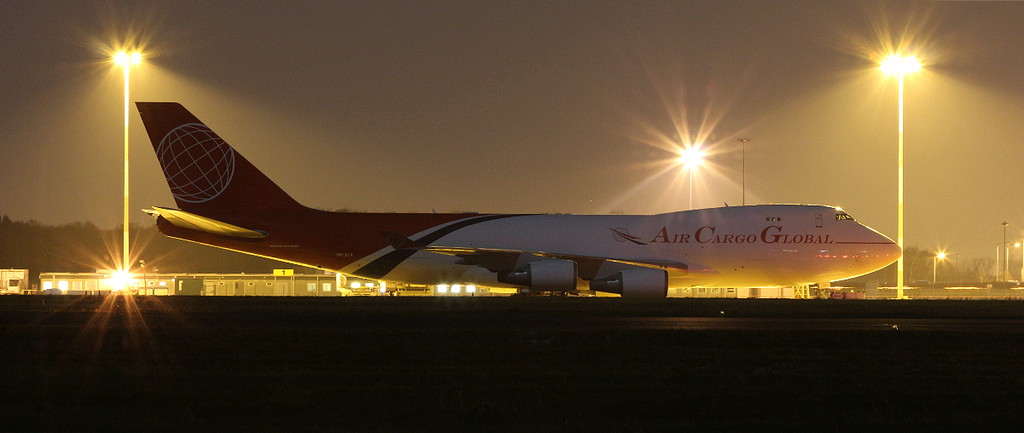 Air Cargo Global, 747-400F, OM-ACA arrived from Liege around 22:15.<br /> By Clive Featherstone.