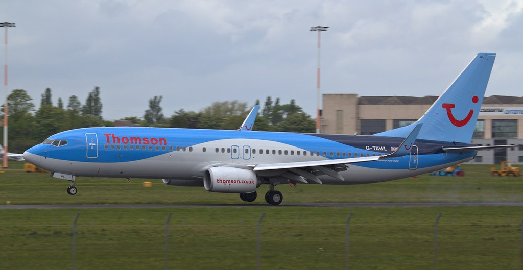 Thomson Airways 737-800 G-TAWL arriving from Reus.<br /> By Jim Calow.