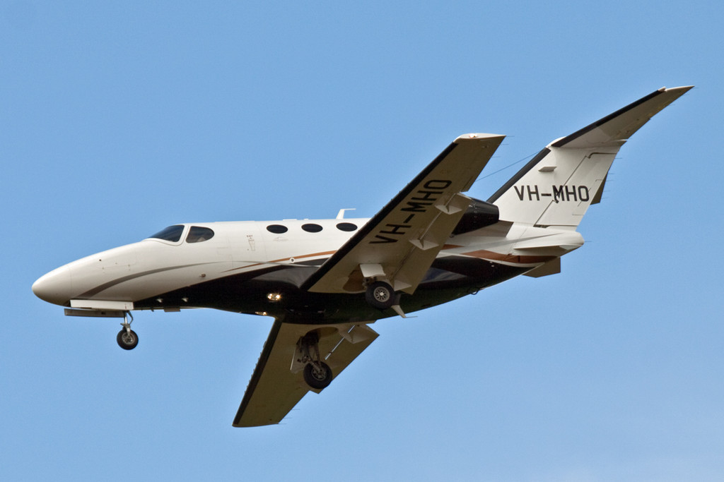 Cessna 510 Citation Mustang VH-MHO, last visited DSA carrying its previous registration N363MU.<br /> By David Bladen.