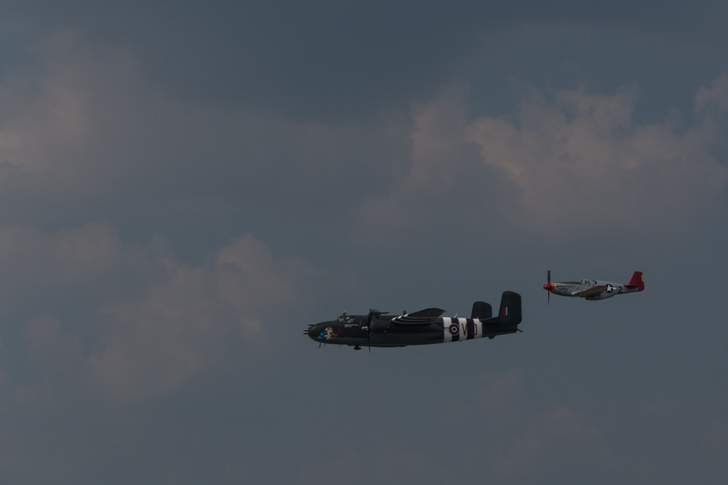 B25 with P51 Red Tail escort