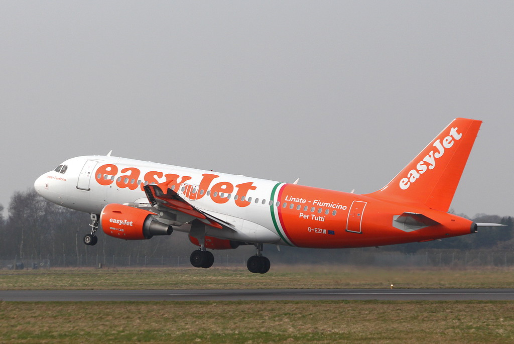 EasyJet A319 G-EZIW<br /> By Clive Featherstone.