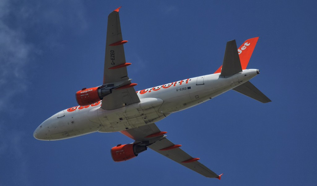 EasyJet, A319, G-EZED in the hold <br /> By Jim Calow.