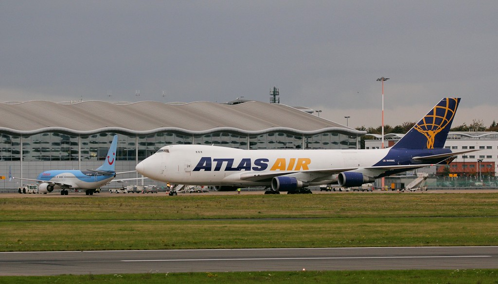 Atlas Air B747-400F, N499MC<br /> By Jim Calow.