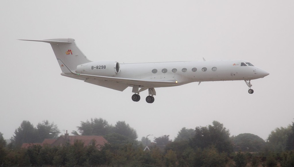 Arriving from Luton about 13:35 was Mandarin Air Gulfstream G550, B-8298.<br /> By Jim Calow