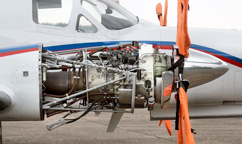 A GARRETT AIRESEARCH TPE 331-10N-513S is the power plant installed in Cessna 441 G-USAR.<br /> By Jim Calow.