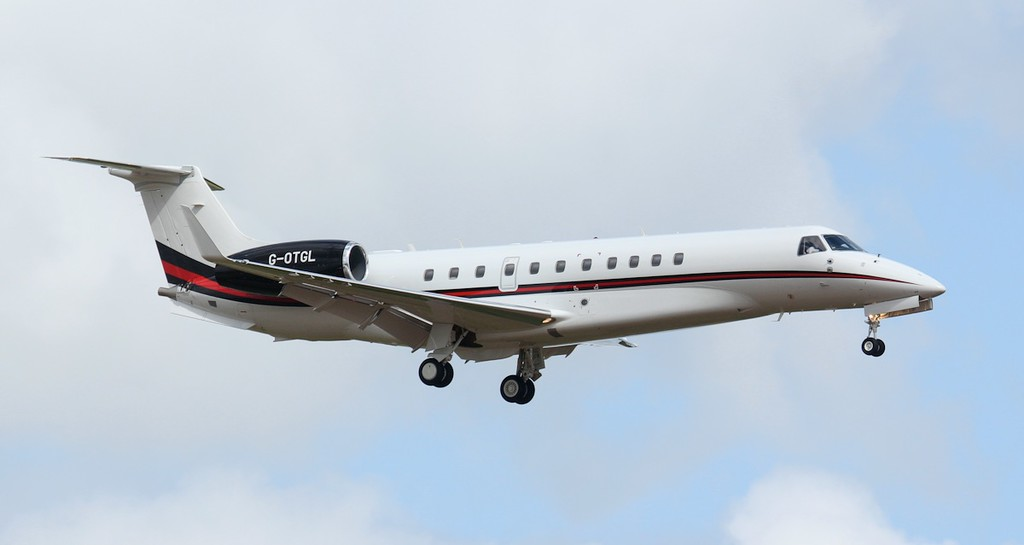 Hangar8 EMB-135BJ Legacy 650, G-OTGL, arrived around 15:30 after making the short hop from Manchester.<br /> By Jim Calow.