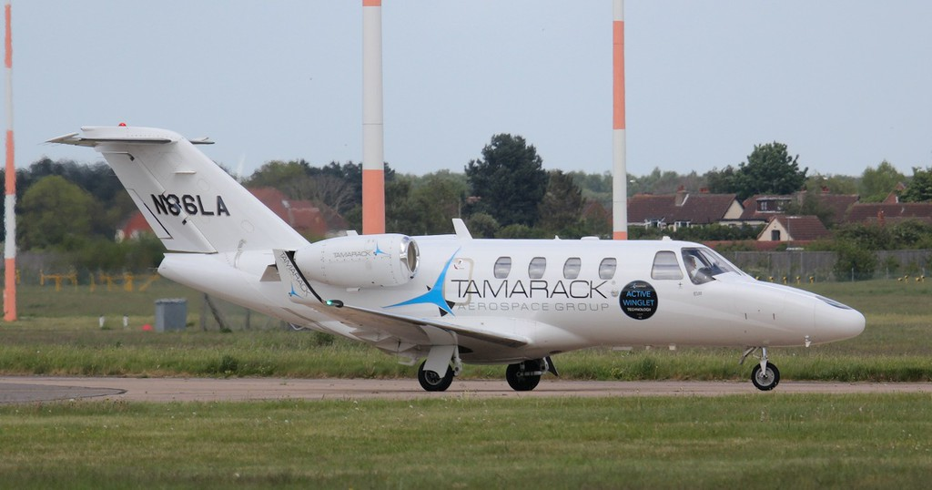 Tamarack Aerospace Cessna 525 CitationJet CJ1, N86LA, has lost it's nose probe and undergone a re-paint.<br /> By Jim Calow.