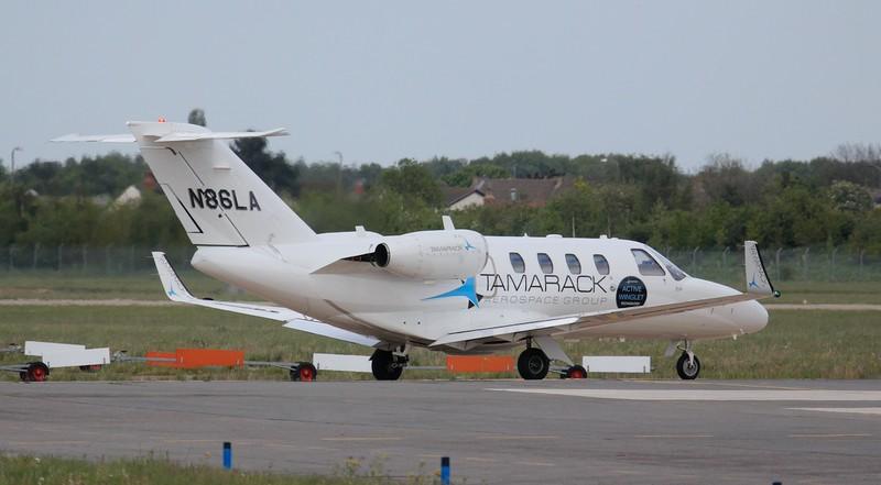 Tamarack Aerospace Cessna 525 CitationJet CJ1 N86LA heads to the engine test bay.<br /> By Jim Calow.