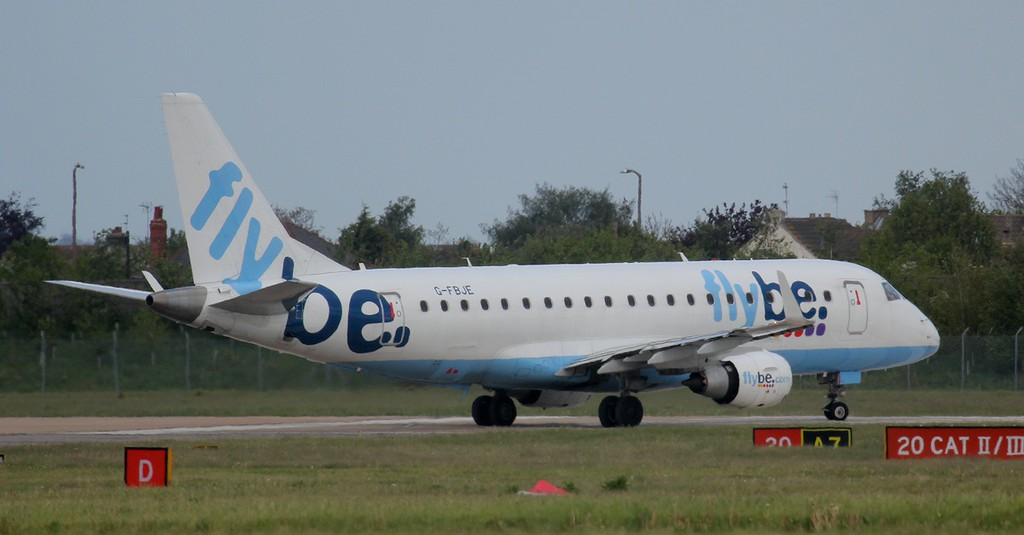 Flybe Embraer ERJ-175STD G-FBJE enters runway 20 prior to departing for Jersey.<br /> Jim Calow.