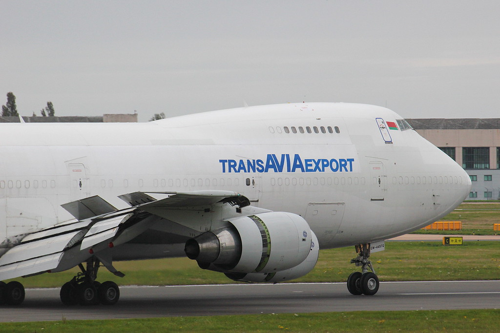 Trans Avia Export 747-200F EW-445TQ.<br /> By Clive Featherstone.