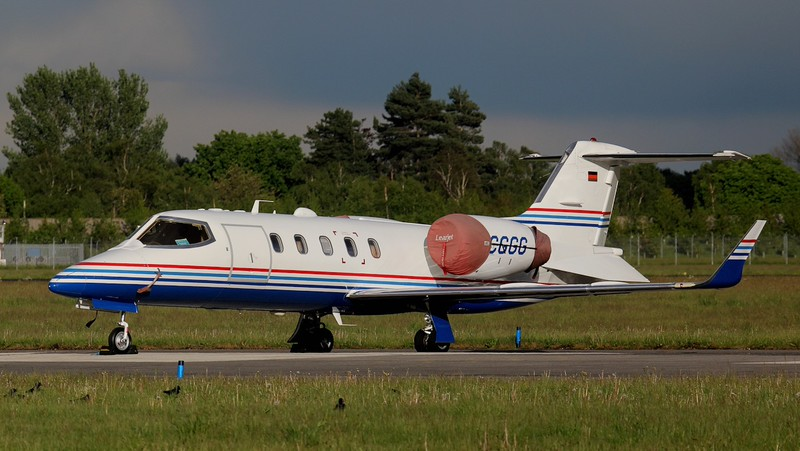 MHS Aviation Learjet 31A, D-CGGG.<br /> By Jim Calow.