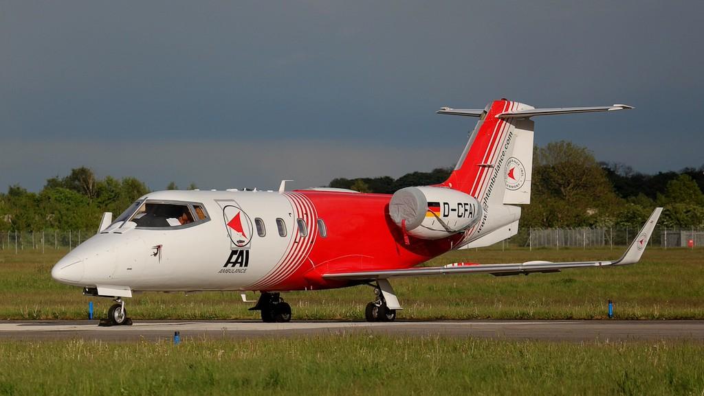 Flight Ambulance International Learjet 55 D-CFAI.<br /> By Jim Calow.