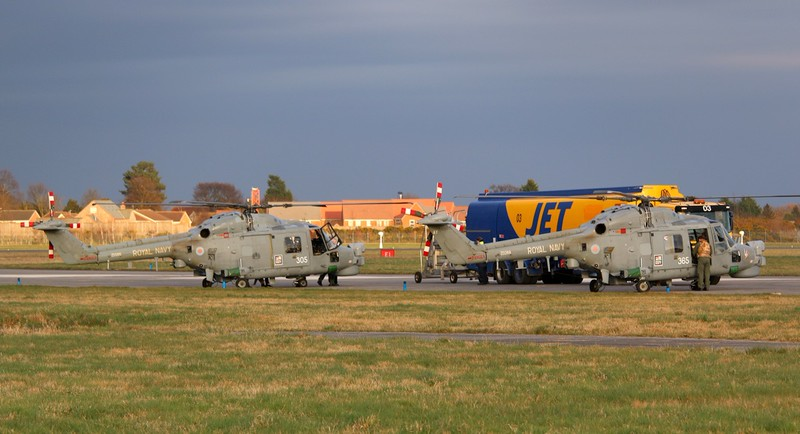 Royal Navy Lynx HMA8, ZD566/305 & ZD268/365.<br /> By Correne Calow.