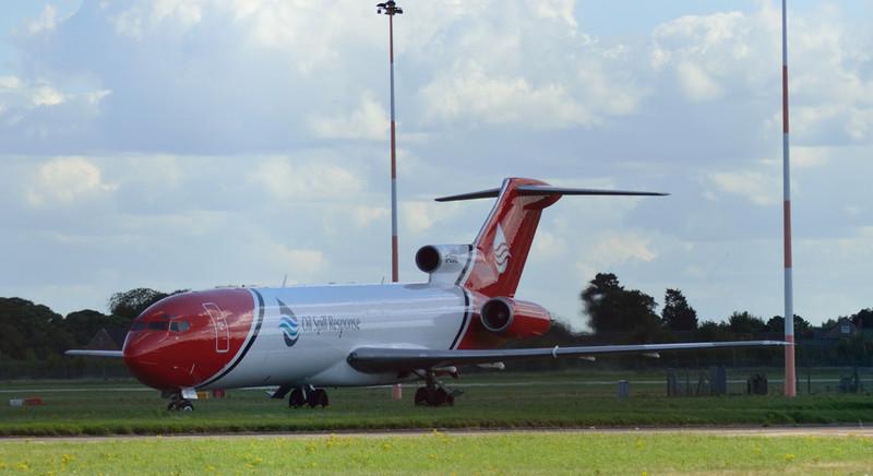 T2 Aviation 727-200F G-OSRB arrive back from Lasham.<br /> By Kevin Barwell.