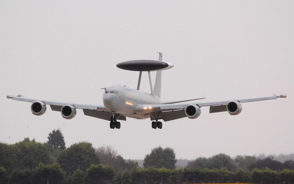 """E-3D Sentry ZH101 was another visitor in for training, making several """"Touch n Goes"""" before departing to Coningsby.<br /> By Jim Calow."""