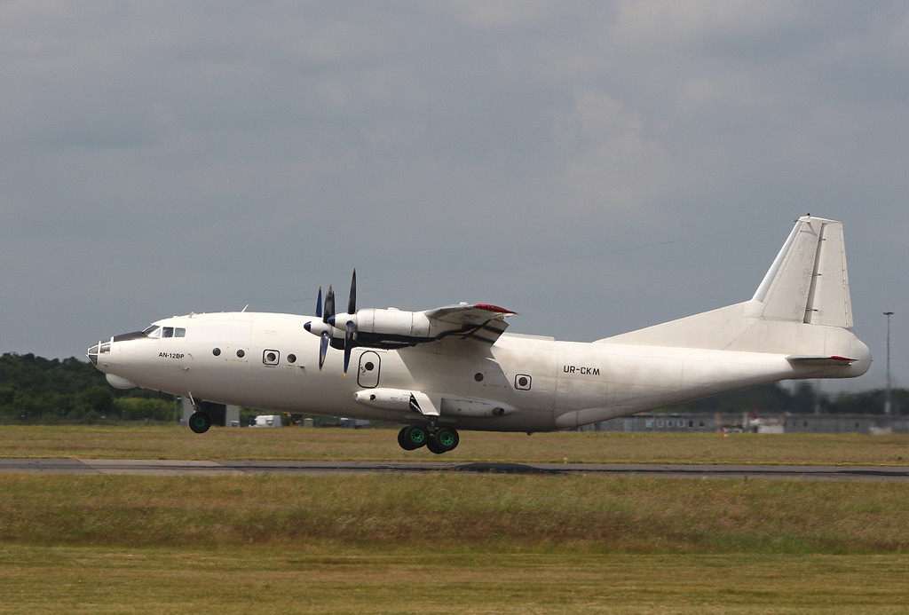 Cavok Airlines An-12BP UR-CKM.<br /> By Clive Featherstone.