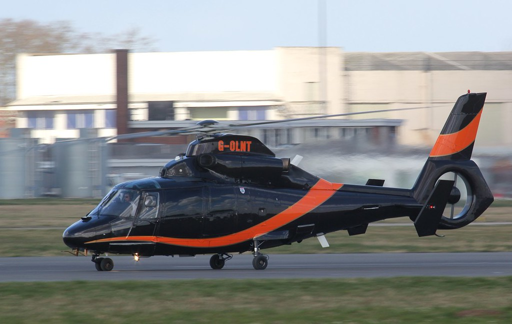 LNT Aviation, AS365N Dauphin 2, G-OLNT arrived for a spot of training.<br /> By Jim Calow.