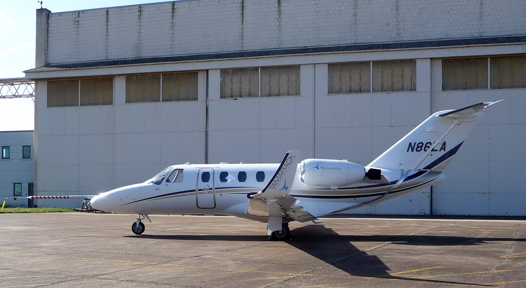 Tamarack Aerospace, Cessna 525 Citation Jet CJ1, N86LA  has been at Cranfield (arrived 12/3) over the past few weeks and to have the winglets certified and tested.  The aircraft still has the silver airfoil sensor tape on it which measures the airflow and its direction from the winglets.<br /> By Correne Calow.