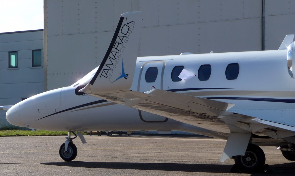 "Tamarack Aerospace, Cessna 525 CitationJet CJ1, N86LA with ""active winglets""<br /> By Correne Calow."