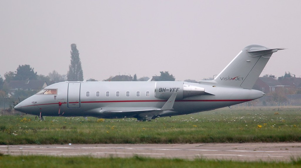 VistaJet CL-600-2B16 Challenger 605 9H-VFF was a weather diversion from Leeds.<br /> By Correne Calow.
