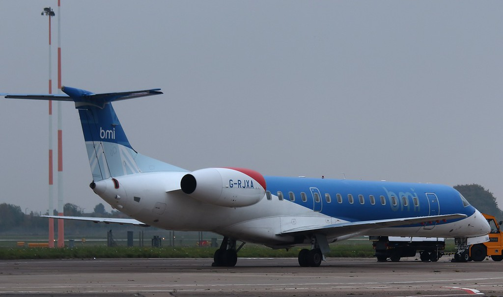 BMI Regional, Embraer EMB-145EP, G-RJXA arrived with the Arsenal team for a match with Sheffield Wednesday. Arsenal were subsequently beaten 3-0.<br /> By Correne Calow.