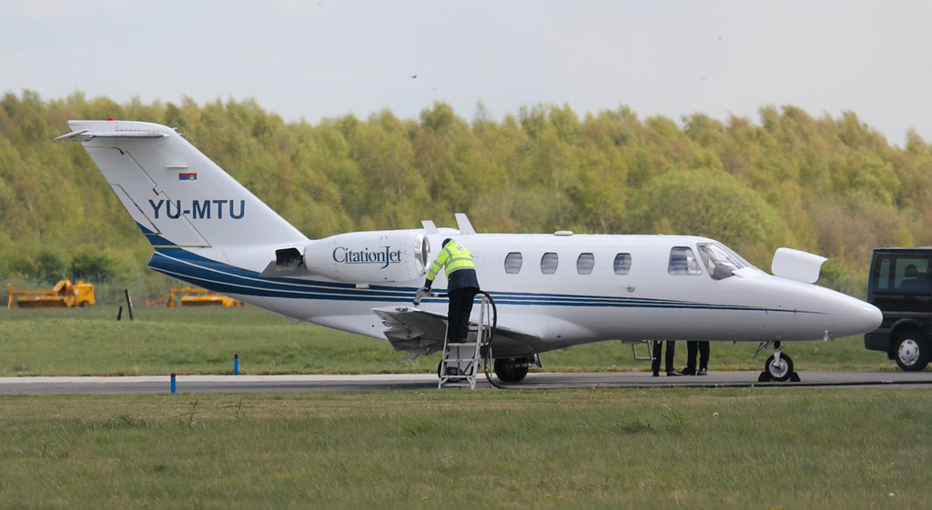 Serbian registered Cessna 525 CitationJet CJ1, YU-MTU, arrived from Sardinia shortly after 14:30.<br /> By Jim Calow.
